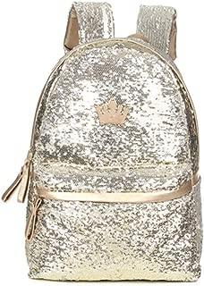 Raylans Girl's Crown Glitter Sequin School Backpack Lightweight Travel Students Backpack