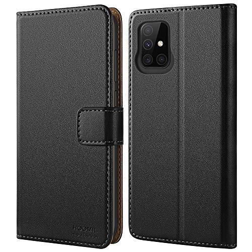 HOOMIL Handyhülle für Samsung Galaxy A71 Hülle, Premium PU Leder Flip Hülle Schutzhülle für Samsung Galaxy A71 Tasche, Schwarz
