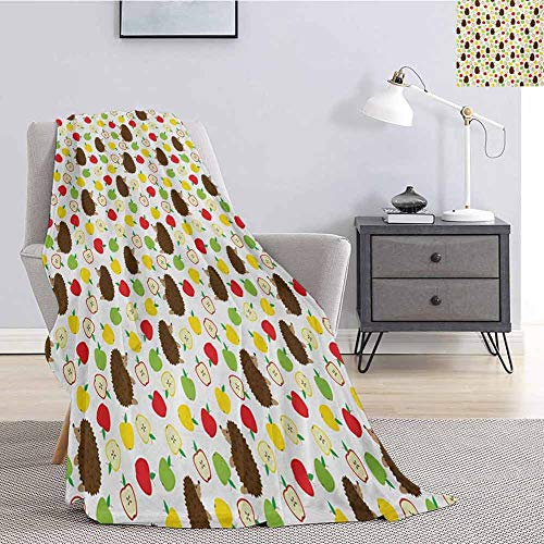 Luoiaax Hedgehog Children's Blanket Cute Baby Mammals with Lively Colored Apples Cut in Half Food Cheerful Wildlife Lightweight Soft Warm and Comfortable W57 x L74 Inch Multicolor