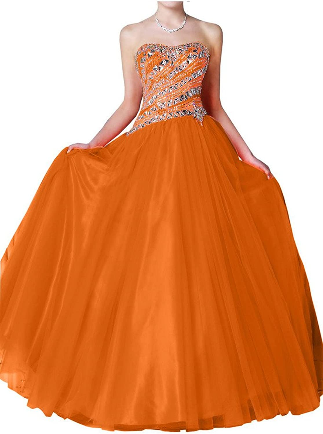 Avril Dress Strapless Ball Gown Rhinestone Quinceanera Dress Satin Tulle