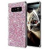 Samsung Galaxy Note 8ケース [HDスクリーンフィルム付き] OKZone キラキラ 目立つデザイン TPU シリコン カバー 耐衝撃ボディ 全面保護 落下防止 ファッション Samsung Galaxy Note 8 適用 (ピンク)