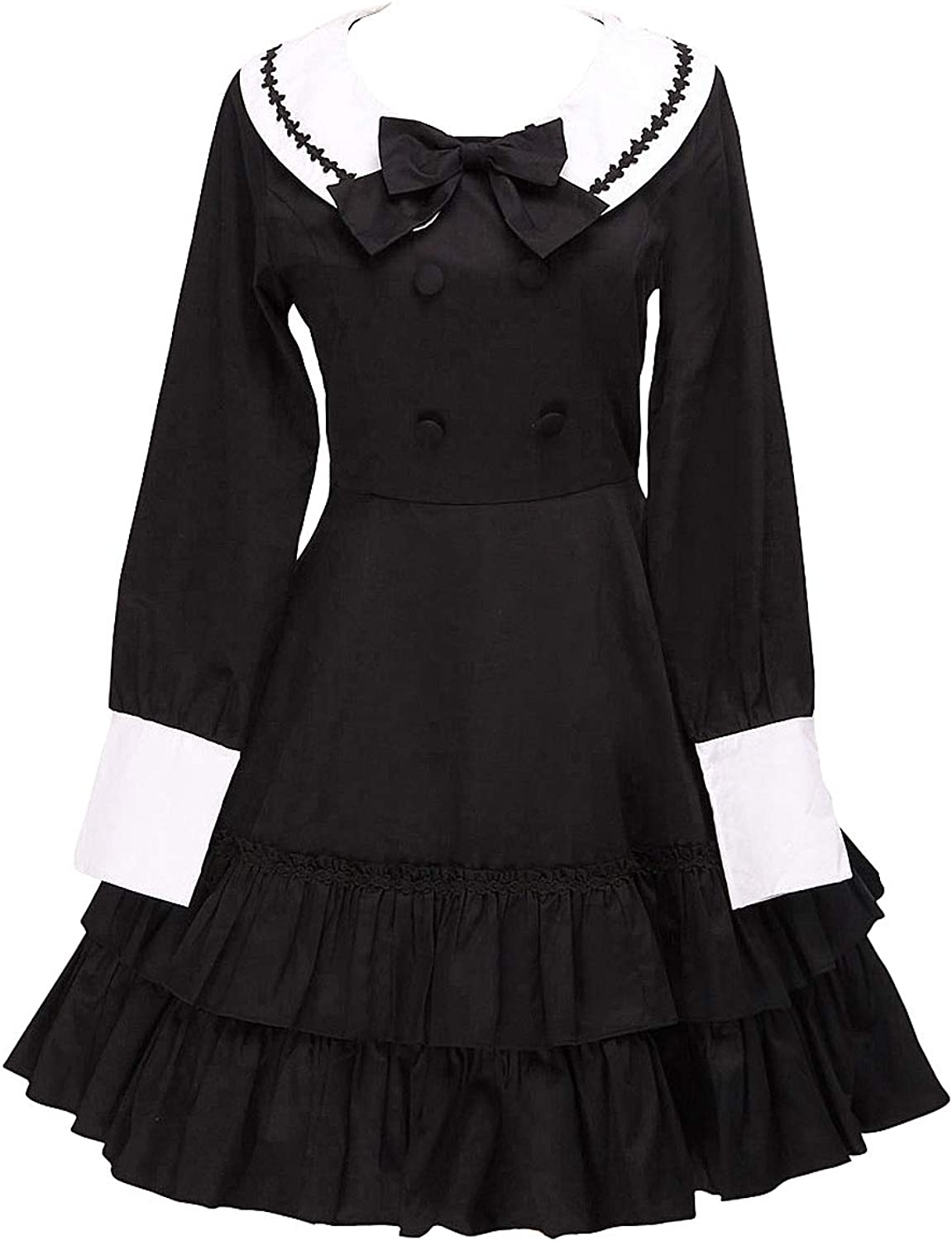 Antaina Black Cotton Ruffle Bow Sailor Sweet Student Lolita Cosplay Dress