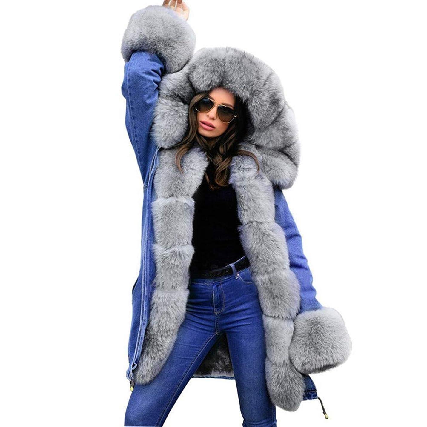 含む電気陽性エジプト冬の女性のフード付きコートの毛皮の襟暖かいロングコートの女性の冬のジャケット女性のアウター,XL