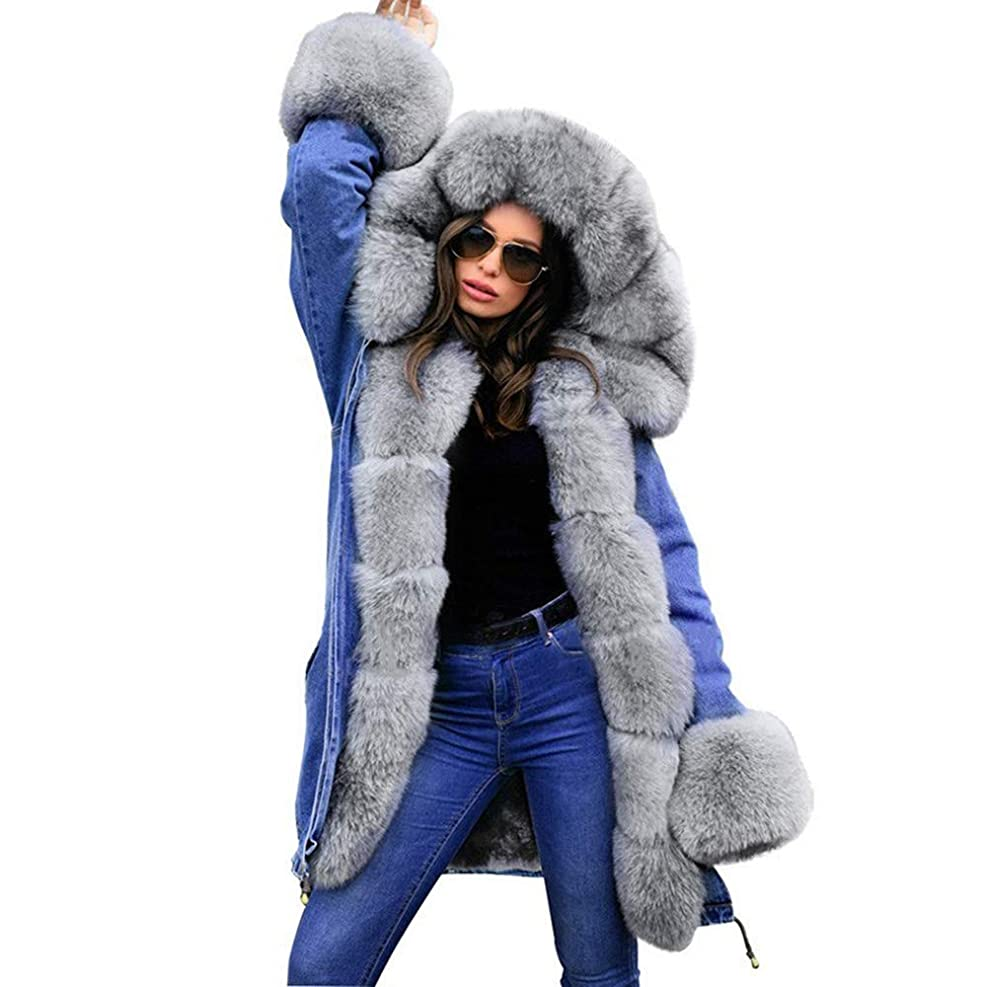 コンクリートチャーミングペインティング冬の女性のフード付きコートの毛皮の襟暖かいロングコートの女性の冬のジャケット女性のアウター,XL