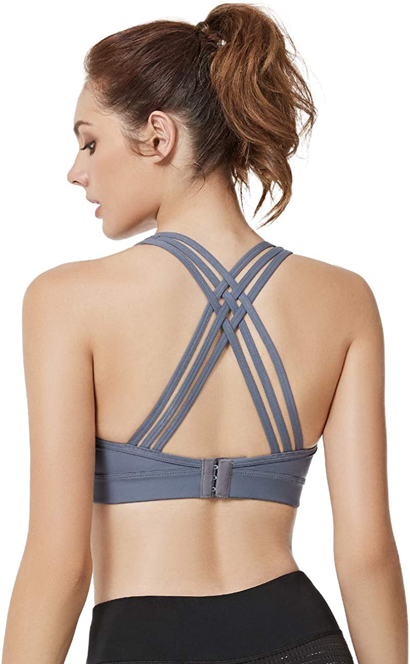 Yvette Yoga Strappy Sports Bra for Women with Sexy Criss Cross Back Workout Bra for Plus Size for Plus Size