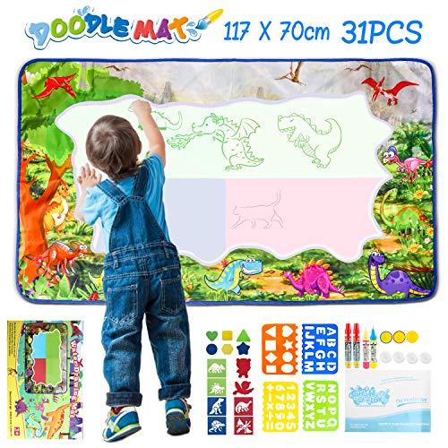 XDDIAS Agua Dibujo Pintura, Esteras de Agua Doodle con 4 Bolígrafos, 3 Sellos, Mágicos Juguete Educativo Mat para Niños (117 x 70cm)