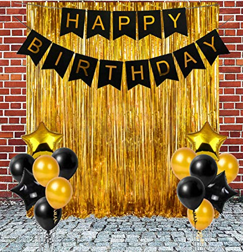 TOYXE 40684 Birthday Banner with Fringe Curtain Metallic and Star Shape Balloon Set Golden