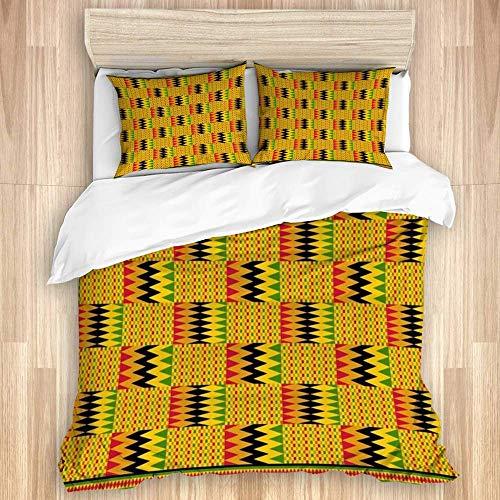 Juego de Funda nórdica de algodón Lavado, diseño gráfico Verde Kente Zig Design Zag Path Life Beauty Rojo Ghana África Africana Ashanti Resumen, 3 Piezas Juego de Ropa de Cama suav