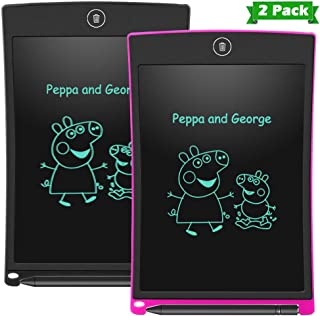 LCD Writing Tablet Electronic Writing Drawing Doodle Board Erasable Aukor 8.5-Inch Handwriting Drawing Tablet Notepad for Kids Adults at Home School Office 2-Pack (BK+PK)