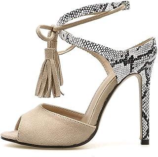 Tassel Colorblock High Heel Sandals (Color : Apricot, Size : 41)