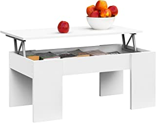 COMIFORT Mesa Centro Elevable - Mesa Salón Funcional con Gran Almacenaje Estilo Moderno Muy Resistente Color Blanco Fa...
