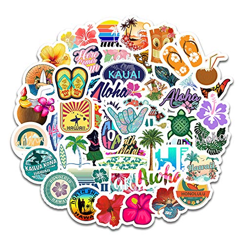 Hawaii Aloha Sticker Pack of 50 Beach Vacation Stickers Hawaii Decals for Laptops Hydro Flasks Water Bottles Luggage