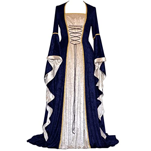 326d2381cb37 YEAXLUD Womens Renaissance Medieval Costume Dress Lace up Irish Over Long  Dresses Cosplay Retro Gown