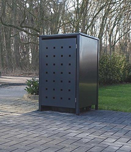 Srm-Design 1 Mülltonnenbox Modell No.2 für 120 Liter Mülltonnen/komplett Anthrazit RAL 7016 / witterungsbeständig durch Pulverbeschichtung/mit Klappdeckel und Fronttür
