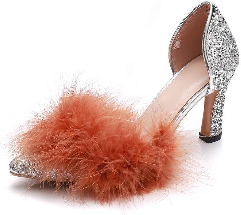 AN Womens Chunky Heels Pointed-Toe Fur Collar Fabric Pumps shoes DGU00856