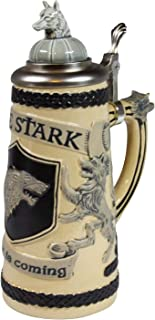 Game of Thrones House Stark Beer Stein | Collectible Authentic Ceramic Drinking Mug | 22 Ounces