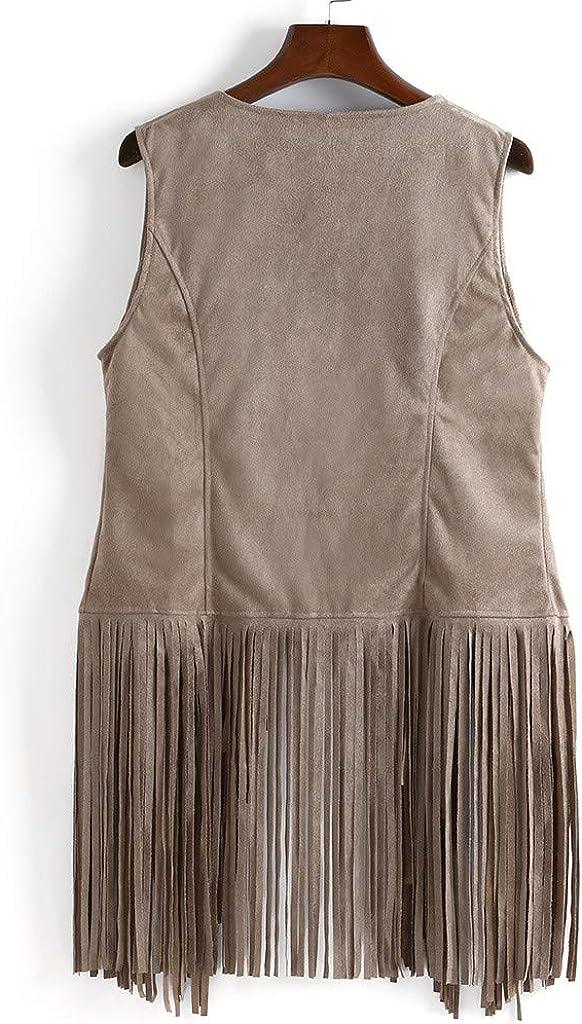 Bokeley Women Fashion Autumn Winter Faux Suede Ethnic Sleeveless Tassels Fringed Vest Cardigan