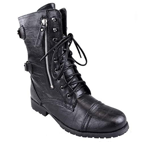 c72253b83d5 WOMENS LADIES ARMY COMBAT LACE UP ZIP GRUNGE MILITARY BIKER TRENCH PUNK  GOTH ANKLE BOOTS SHOES
