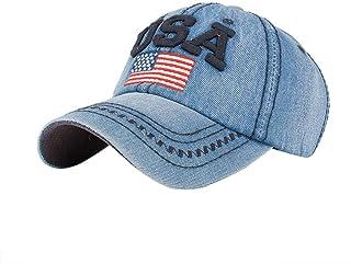 Adagod Unisex Hat, USA Denim Rhinestone Baseball Cap Snapback Hip Hop Flat Hats