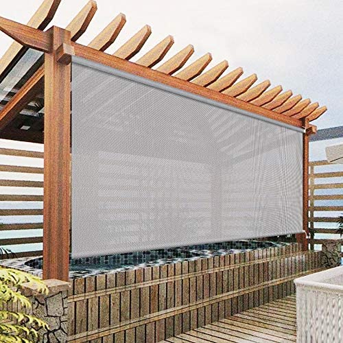 Exterior Roller Shades Cordless Blinds Grey Custom Outdoor Waterproof Solar Shades Light Filtering product image