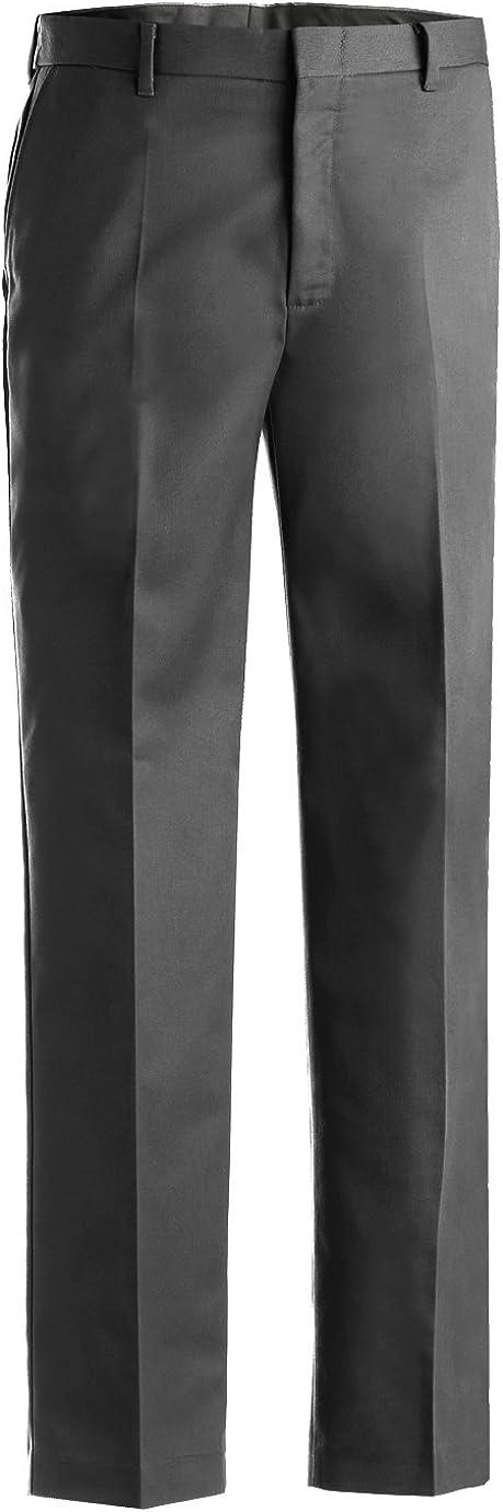 Ed Garments Men's Business Casual Flat Front Brass Zipper Pant, DARK GREY, 46 UL