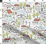 Häuser, Stadt, Nachbarschaft, Dorf, Zuhause Stoffe -