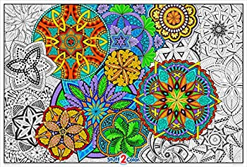 Giant Coloring Poster Mandala Madness for Kids and Adults - Great for Family Time Girls Boys Arts and Crafts Adults Care Facilities Schools and Group Activities
