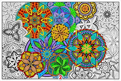Giant Coloring Poster Mandala Madness for Kids and Adults - Great for Family Time, Girls, Boys, Arts and Crafts, Adults, Care Facilities, Schools and Group Activities