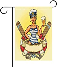 BEICICI Custom Personalized Garden Flag Outdoor Flag Girls Pin Up Sexy Sailor Girl Lifebuoy with Captain Hat and Costume Glass of Beer Decorative Deck, Patio, Porch, Balcony Backyard, Garden or Lawn