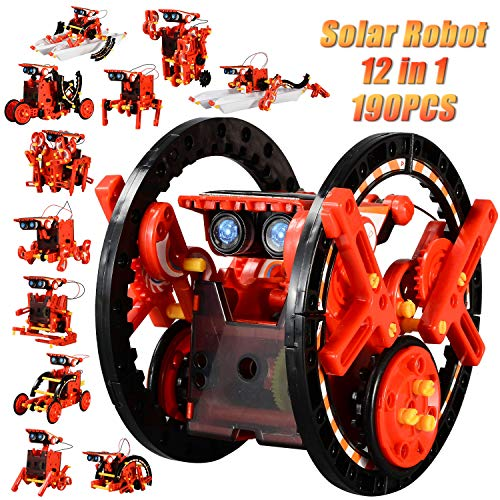 CIRO STEM 12-in-1 Education Solar Robot Toys -190 Pieces DIY Building Science Experiment Kit for Kids Aged 8-10 and Older,Solar Powered by The Sun