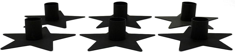 CVHOMEDECO. Primitives Metal Star Taper Candle Holder. Frosted Black, Set of 6.