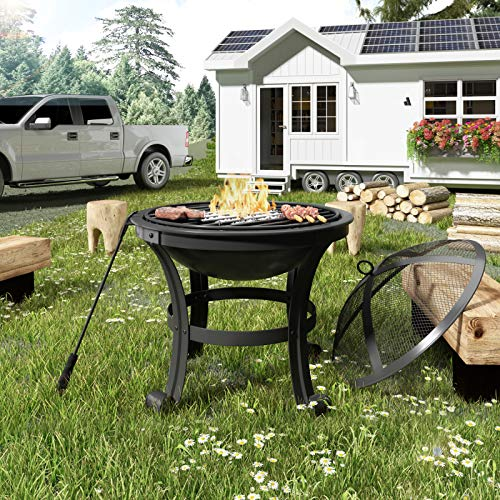 jeerbly Outdoor, garden, patio fire pit, fire bowl, heater, BBQ grill, metal brazier with poker, grate, mesh cover, φ56 cm
