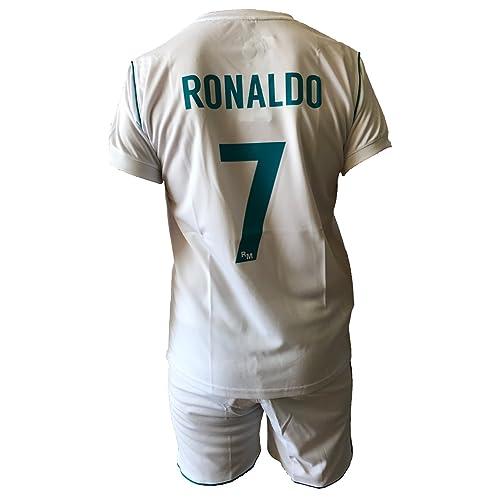 Conjunto Equipacion Camiseta Pantalones Futbol Real Madrid Cristiano Ronaldo 7 Replica Autorizado 2017-2018 Niños