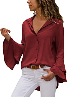 HunYUN Women Casual Solid Button Flare Sleeve Turn-Down Collar Blouse Long Sleeve Tops