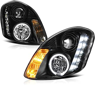 [For 2003-2004 Infiniti G35 Sedan Halogen Model] LED Strip Halo Ring Black Housing Projector Headlight Headlamp Assembly, Driver & Passenger Side