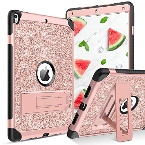 case up ipad 3 protection cases YINLAI iPad Air 3 Case iPad Pro 10.5 Case Glitter 3 in 1 Hybrid Kickstand Protective Tablet Cover Cases for iPad Air 3rd Gen (A2123/ A2152/ A2153/ A2154)/ Pro 10.5 inch (A1701/ A1709/ A1852),Rose Gold