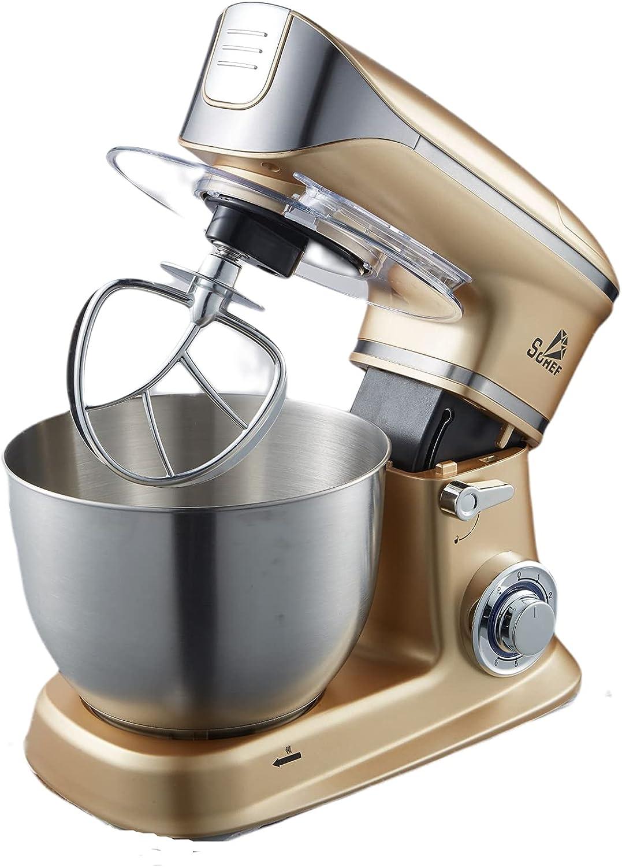 Robot de cocina, 1300 W, amasadora de alto rendimiento con gancho para amasar, batidora y batidor, 6,5 litros, recipiente de acero inoxidable, batidora de cocina (dorado)