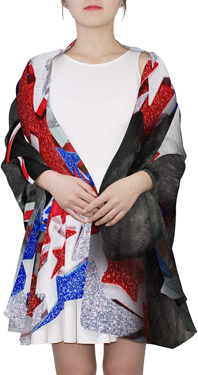 Fashion Scarf For Women French Bulldog Waving A Flag Of Usa And Victory Or Womens Fashion Scarfs Lightweight Designer Scarf Lightweight Print Scarves Scarf Girls Lightweight Large Scarf