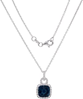 925 Sterling Silver Cushion-Cut London Blue Topaz with Sapphire Lock-Shaped Pendant Necklace 18