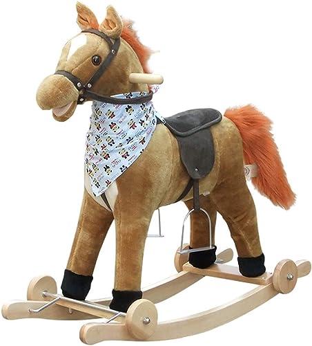 FJH Schaukelpferde Musik Schaukelstuhl Massivholz Doppeltem Verwendungszweck Rocking Cradle Baby Geschenk Baby Spielzeug Pferd Trojan Kind Schaukelpferd 76  28  73cm (Farbe   B)