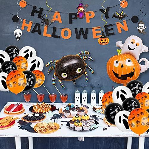 ERMUKEJI Halloween Décoration Kit, 56 Pack Ballons Banniere...