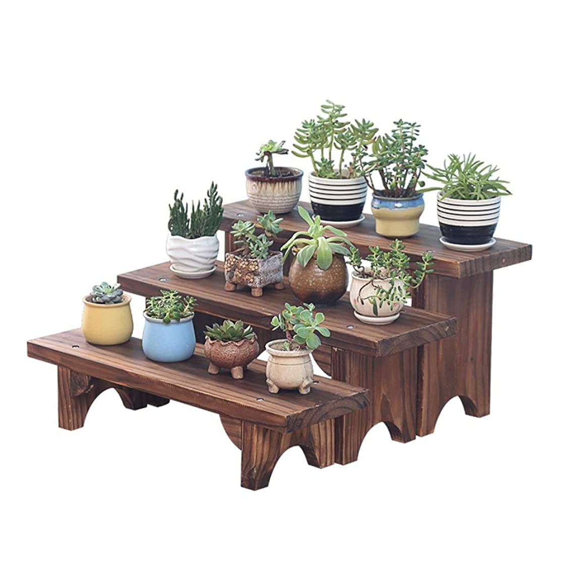 地震構想する乳剤大規模な取り外し可能な木製レトロ3層棚花植物ディスプレイスタンドラック屋外での使用、自立の家の装飾のステップ棚