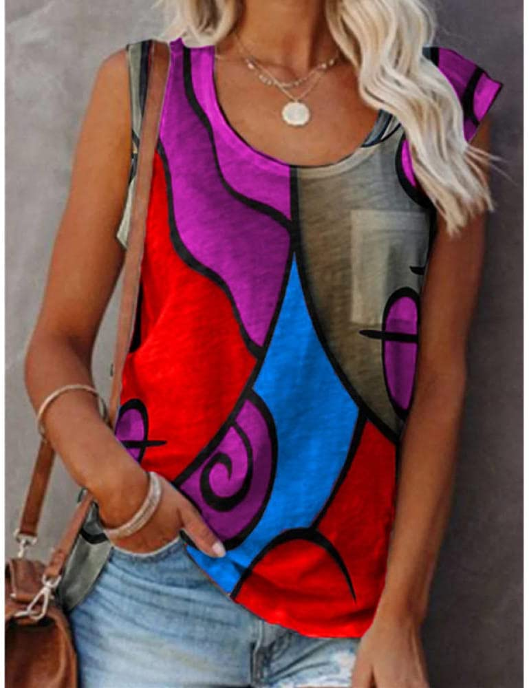 JIAJING Women's Casual Pullover T-Shirt Sleeveless Vest Color Matching Fashion Sexy Plus Size Vest Female Summer Shirt Clothes-Purple_XXX-Large_The