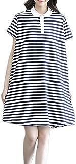 CHICFOR Women Girls Summer Short Sleeve Casual Loose Blue Striped T-Shirt A Line Dress