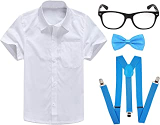 Boys Short Sleeve Dress Shirts w/Suspenders and Bow Tie,Nerd Fake Glasses for School Uniform Oxford Shirts