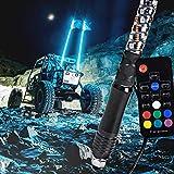6ft Spiral LED Whip Light for UTV ATV [21 Modes] [20 Colors] [RF Wireless Remote] [Weatherproof] [USA Flag] LED Lighted Whip Antenna for RZR Can-Am Polaris UTV ATV Accessories