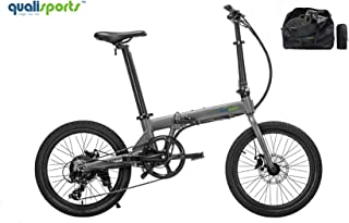 """Qualisports Electric Ebike Volador 20"""" Folding Bicycle (+Free Carry Bag) Approved UL2849, 36V/7Ah Battery, 350W Hub Motor, 20MPH Max Speed, 25+Miles Range, 7 Speed Shifter Bike for Adults"""