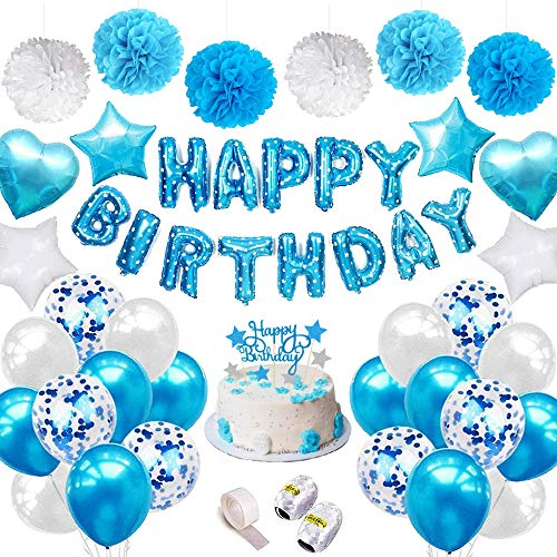 SPECOOL Globos de látex Rellenos de Confeti Azul Feliz cumpleaños Letras de Globos Papel de Aluminio Corazón Estrella con Cintas para la decoración de cumpleaños Artículos para Fiestas (Azul)
