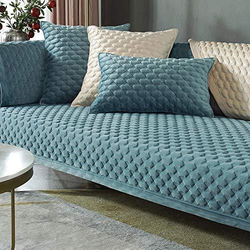 HXTSWGS Cojín de Felpa para sofá, cojín Acolchado de Invierno, Funda de sofá de Tela Antideslizante, Azul 2_90 * 160