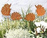 LB H&F 4er Set Roststecker Igel Familie Gartenstecker Rost Metall (Igel Set)
